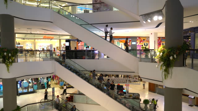 crowded people in luxury shopping mall
