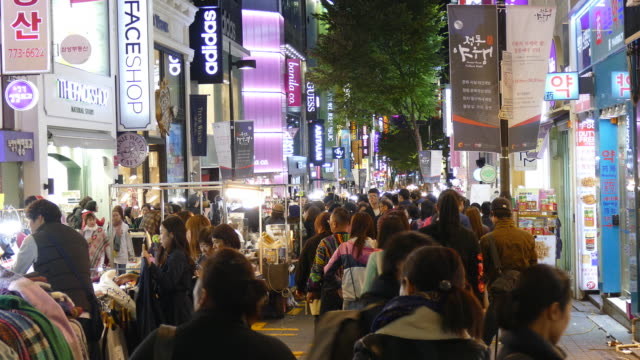 Crowded people in Myeong-dong market in korea city