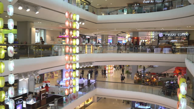 crowded people in shopping mall