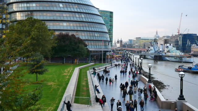 crowded people & tourists at tower bridge, london - building entrance stock videos and b-roll footage