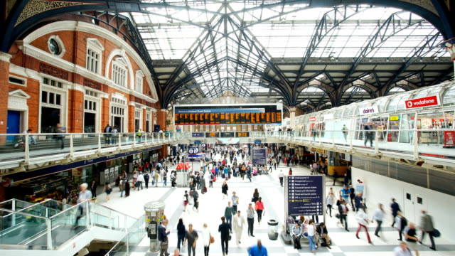 crowded people train station, liverpool street, in london, time lapse - station stock videos and b-roll footage