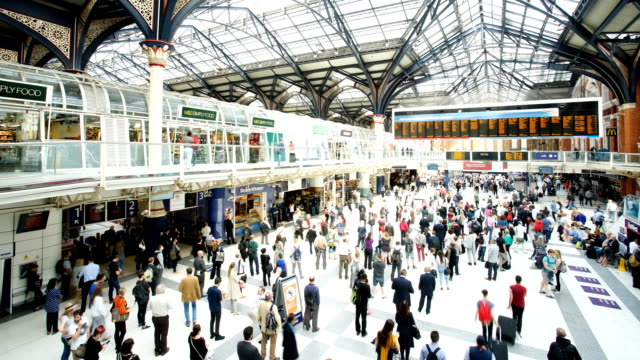 crowded people train station, liverpool street, in london, time lapse - railway station stock videos and b-roll footage