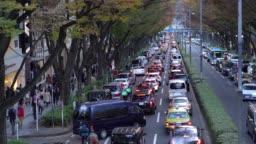 Crowded people walking Omotesando avenue in Shibuya ward japan