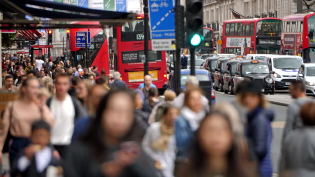 crowded regent street london - city of london stock videos & royalty-free footage