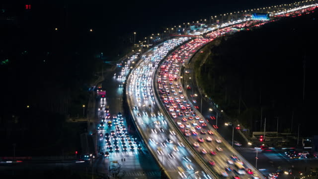 T/L HA TD Crowded Rush Hour Traffic at Night / Beijing, China