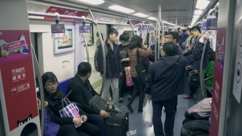 crowded scene of beijing's subway,chinam - chinese ethnicity stock videos & royalty-free footage