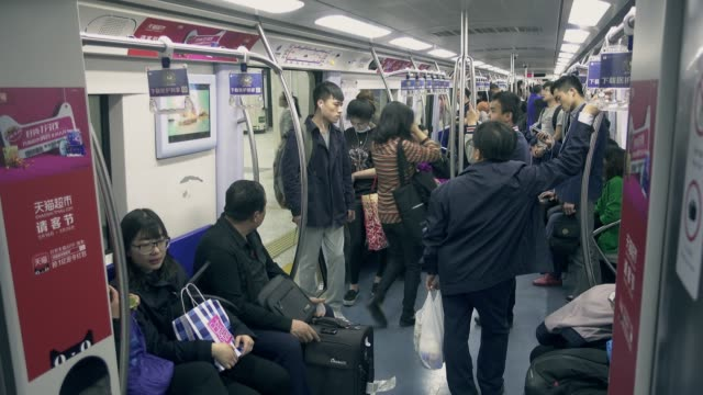 crowded scene of beijing's subway,chinam - passenger train stock videos & royalty-free footage