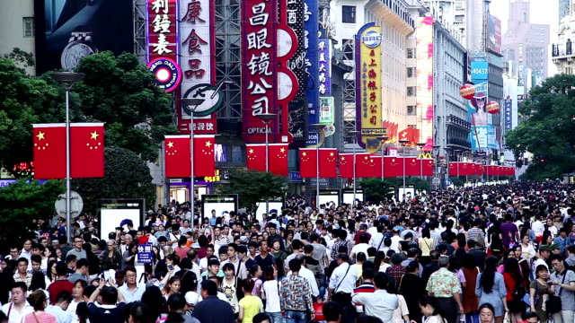 crowded shopping street - nanjing road stock videos & royalty-free footage