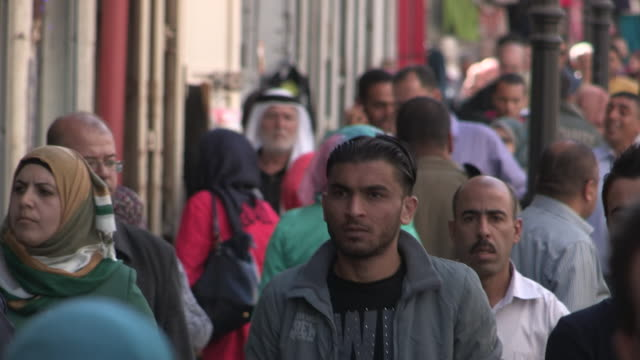 crowded sidewalk, ramallah, palestine - palestinian territories stock videos and b-roll footage