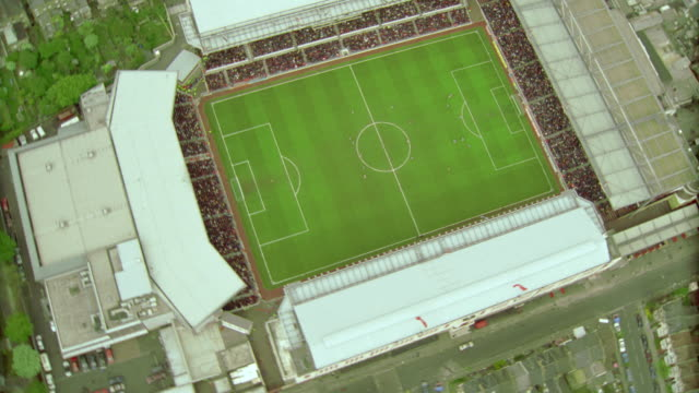 AERIAL crowded soccer stadium during game / Arsenal FC, London