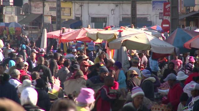 crowded street in antananarivo, republic of madagascar - madagascar stock videos & royalty-free footage