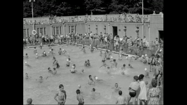 crowded swimming pool with diving platform; 1959 - 1950 1959 stock videos & royalty-free footage
