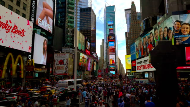 crowded time sqauare - digital signage stock videos and b-roll footage