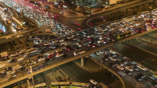t/l ms ha pan crowded traffic / beijing, china - traffic jam stock videos and b-roll footage