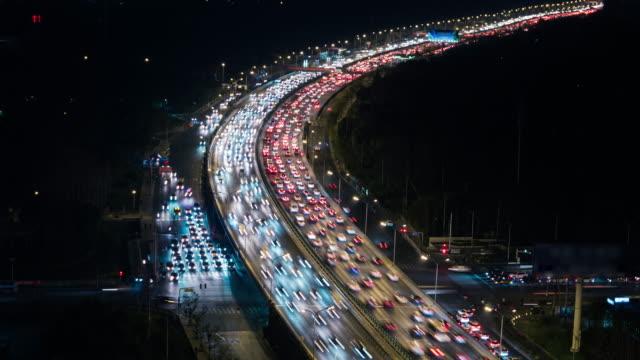 T/L ZI Crowded Traffic in Beijing at Night
