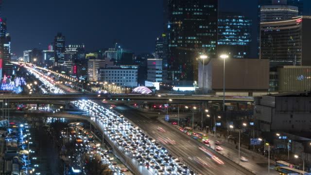 T/L MS HA TU Crowded Traffic in Beijing CBD / Beijing, China