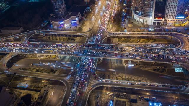 t/l ws ha zo crowded traffic in beijing - motorway junction stock videos & royalty-free footage