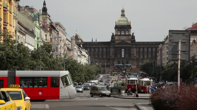 WS Crowded Wenceslas Square with National Museum in background / Prague, Czech Republic