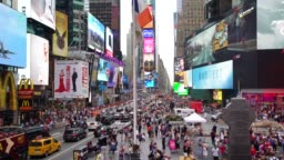 WS Crowds and busy traffic in Times Square / New York City, USA