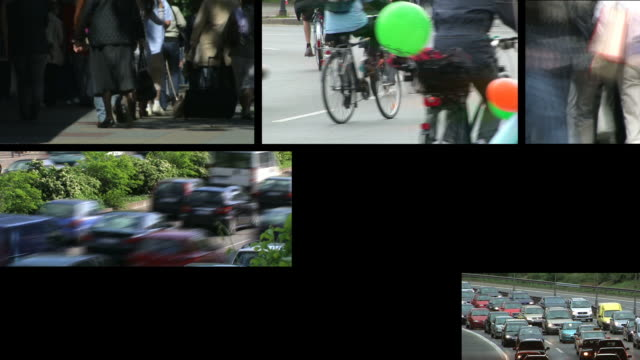 crowds and cars - montage - film montage stock videos & royalty-free footage