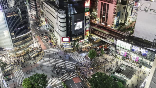 TL, HA, ZO Crowds and traffic on Hachiko crossing, Shibuya, at night / Tokyo, Japan