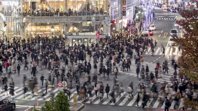 crowds and traffic on shibuya crossing at night / tokyo, japan - road junction stock videos & royalty-free footage