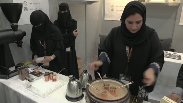 crowds are jamming the aisles of a riyadh coffee and chocolate exhibition this week as saudis indulge the country's sweet tooth and craze for caffeine - caffeine stock videos & royalty-free footage