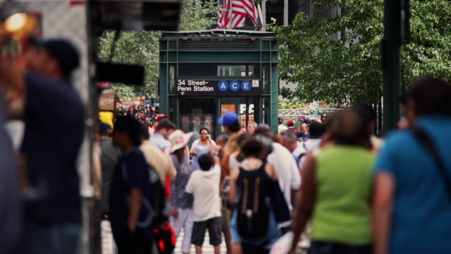 crowds around subway station elevator - new york city penn station stock videos & royalty-free footage