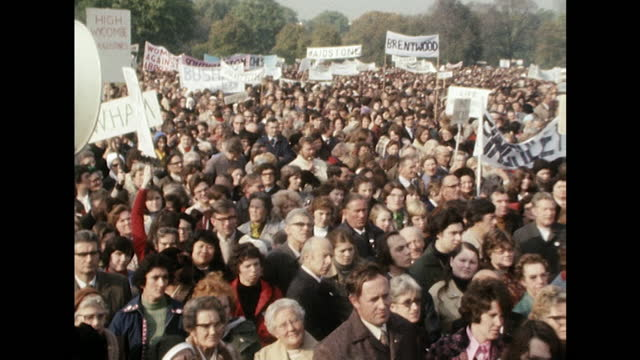 crowds at an anti-abortion rally at hyde park in which an estimated 50,000 people attended. - real time stock videos & royalty-free footage