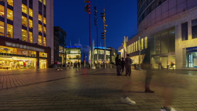 crowds at birmingham city centre at dusk, uk - 4k time-lapse - tall high stock videos & royalty-free footage