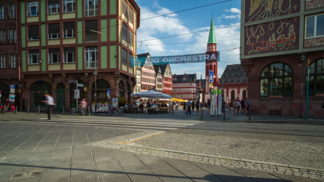 crowds at frankfurt's old town square - 4k time lapse - old town stock videos & royalty-free footage