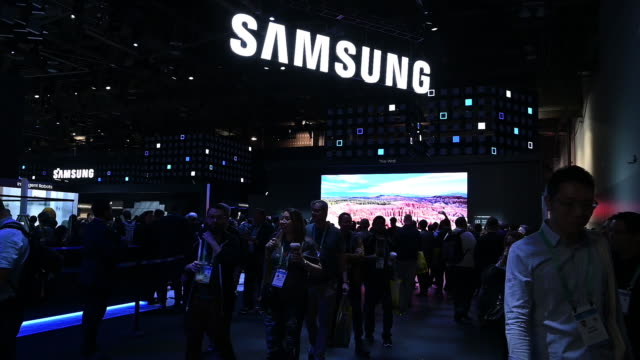 crowds at las vegas convention center during ces 2020 las vegas nevada usa on thursday january 8 2020 - logo stock videos & royalty-free footage