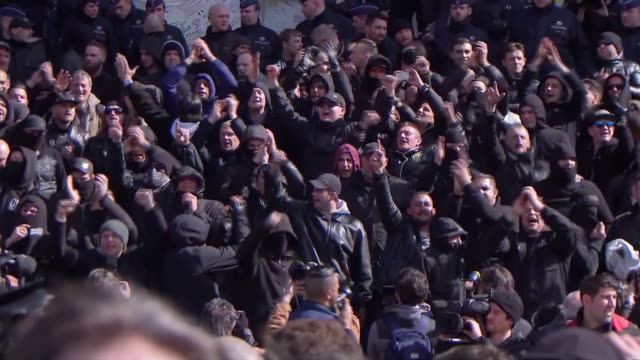 stockvideo's en b-roll-footage met crowds at place de la bourse protesting after the terrorism attack at the brussels airport place de la bourse is come of the brussels stock exchange... - business or economy or employment and labor or financial market or finance or agriculture