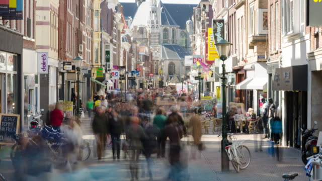 time lapse: crowds at shopping street in europe time lapse - dutch culture stock videos & royalty-free footage
