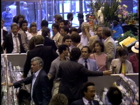 stockvideo's en b-roll-footage met crowds at the grand opening of tower records store at east 4th street and broadway - 1983