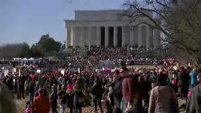 crowds at the jefferson memorial for the 2nd women's march in washington dc at the jefferson memorial - human rights or social issues or immigration or employment and labor or protest or riot or lgbtqi rights or women's rights stock videos & royalty-free footage