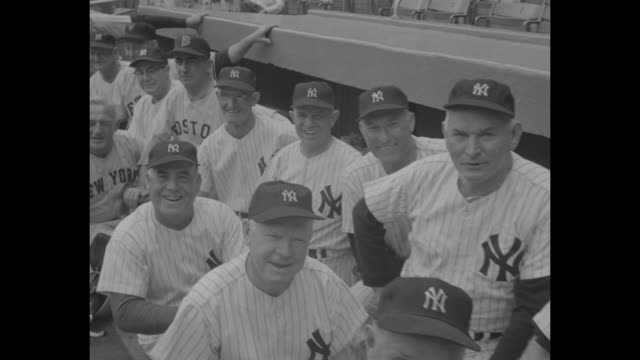 Crowds at Yankee Stadium to watch retired Yankees and native New Yorker baseball players play an exhibition game to honor Lou Gehrig / crowds in...