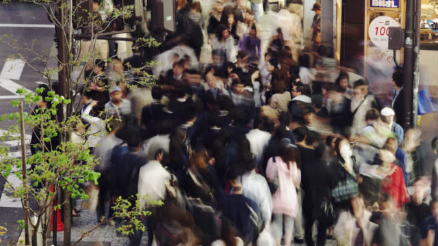 ms t/l crowds besides department store in nishi shinjuku  / tokyo-to, japan     - department store stock videos & royalty-free footage