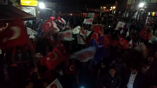 crowds celebrate result of turkish referandum over change of turkish by waving turkish flags as well as banners of justice and development party in... - skopje stock videos and b-roll footage