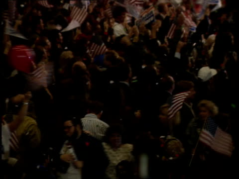 crowds celebrating with confetti and flag waving at a rally following bill clinton's victory in the 1992 presidential election - tipper gore stock videos & royalty-free footage