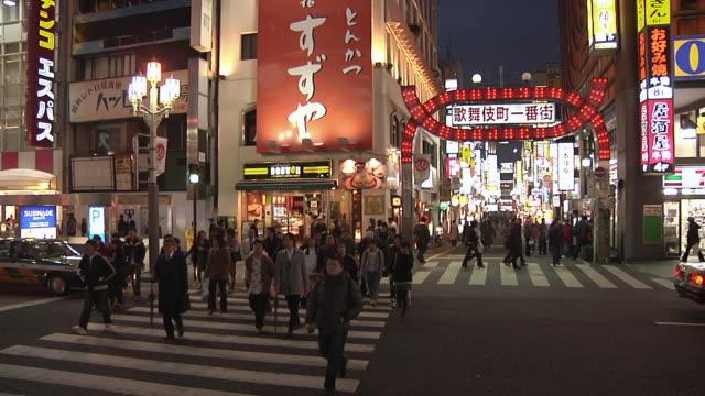 ws crowds cross zebra crossing on street at night / tokyo, kanto, japan - japan stock videos & royalty-free footage