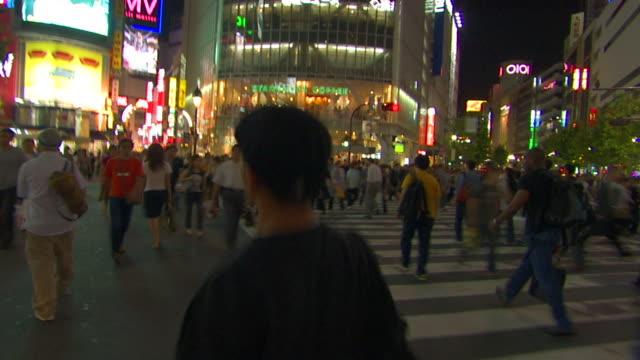 T/L WS POV Crowds crossing street near Shibuya Station, Shibuya, Tokyo, Japan