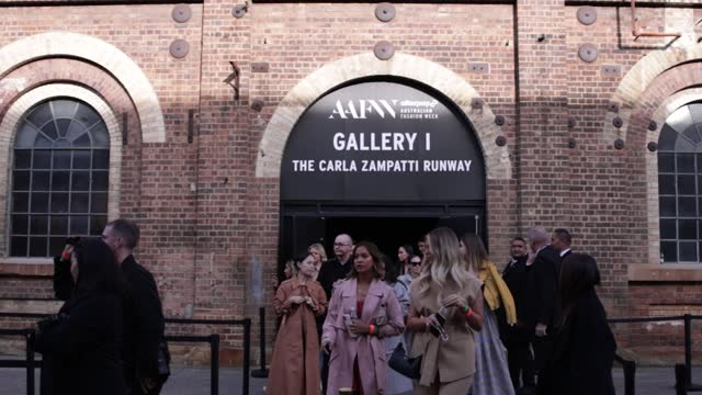 crowds depart the gallery after the next gen show during afterpay australian fashion week 2021 resort '22 collections at carriageworks on june 1,... - carriageworks stock videos & royalty-free footage