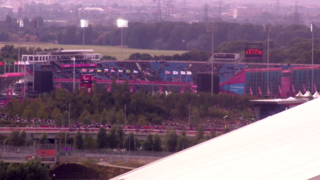 Crowds empty the Riverbank Football Arena in the London 2012 Paralympic Park Timelapse Paralympic Football at Olympic Park on September 01 2012 in...
