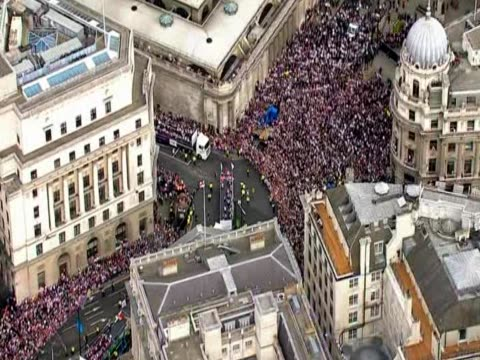 Crowds fill the streets of Central London during the London 2012 Team GB parade