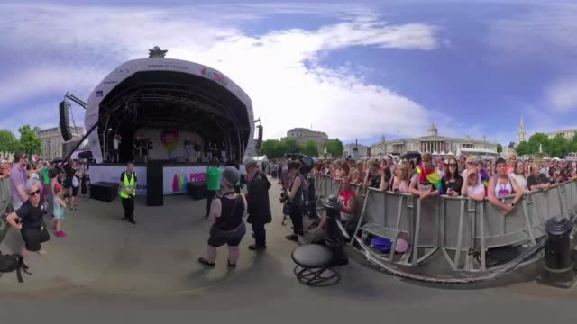 Crowds gather close to the stage at London Pride in Trafalgar Square