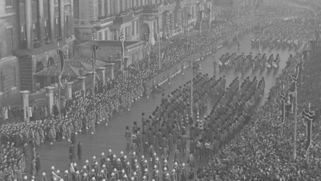 crowds gather for the funeral procession of king george v in london. - british royalty stock videos & royalty-free footage