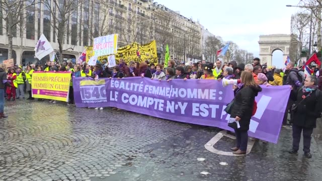 Crowds gather in the French capital for the latest yellow vest rally with protesters slamming President Emmanuel Macron and denouncing inequality in...