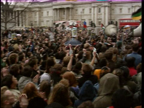 crowds gather in trafalgar square to celebrate the release of nelson mandela - releasing stock videos & royalty-free footage