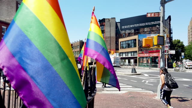 crowds gather outside of the stonewall inn as new york city celebrates pride month on june 26, 2019 in new york city. thousands of members of the... - single father stock videos & royalty-free footage